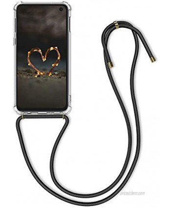 kwmobile Crossbody Case Compatible with Samsung Galaxy S10e Case Clear TPU Phone Cover w Lanyard Cord Strap Transparent Black