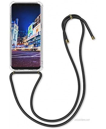 kwmobile Crossbody Case Compatible with Samsung Galaxy S8 Case Clear TPU Phone Cover w Lanyard Cord Strap Black Transparent