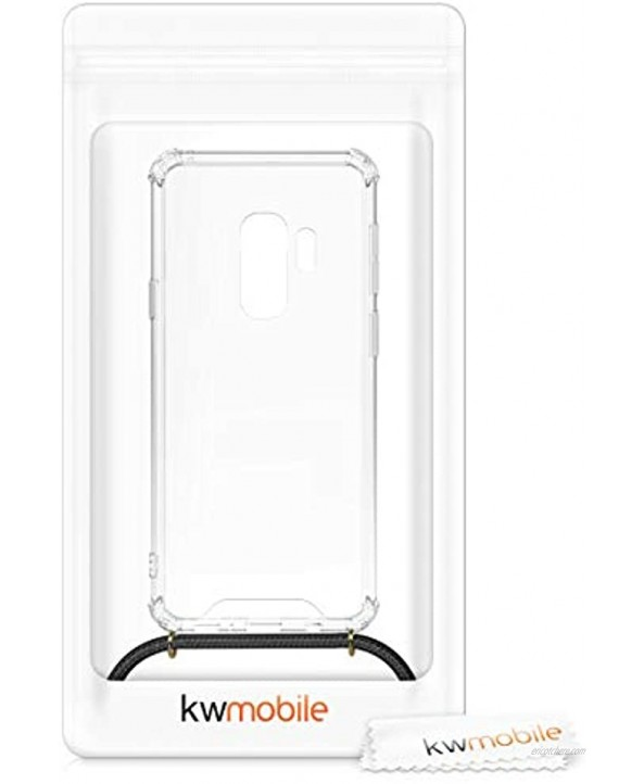 kwmobile Crossbody Case Compatible with Samsung Galaxy S9 Plus Case Clear TPU Phone Cover w Lanyard Cord Strap Black Transparent