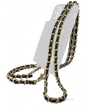 Smartish Genuine Metal Strap Lanyard Dancing Queen Strap No. 9 [Detachable Crossbody Lanyard] Universal Fit for iPhone & Android Crossbody Phone Cases Stiletto Black-Gold