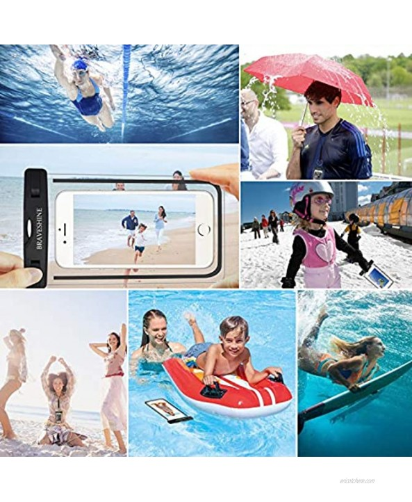 BRAVESHINE Waterproof Phone Pouch Universal Cell Phone Case Dry Bag for iPhone 11 Pro XR X XS MAX 8 Plus Samsung A70 A50 A20 S10+ Note 10 9 LG Stylo 5 Oneplus 7T 6T Screen Up to 6.5 Inch 2 Black