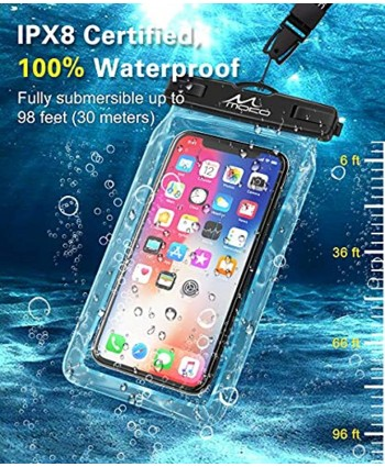 MoKo Floating Waterproof Phone Pouch Holder [2 Pack] Floatable Phone Case Dry Bag with Lanyard Compatible with iPhone 13 13 Pro Max iPhone 12 12 Pro Max 11 Pro X Xr Xs Max Samsung S21 S20 S10 S9 S8