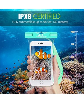 MoKo Waterproof Phone Pouch [2 Pack] Underwater Phone Case Dry Bag with Lanyard Compatible with iPhone 13 13 Pro Max iPhone 12 12 Pro Max 11 Pro Max X Xr Xs Max 8 Samsung Note 10 S20 S21 S10 S9
