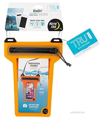 Nite Ize Runoff Waterproof Phone Pouch with Lanyard and Zipper IP67 Universal Waterproof Case for iPhone 11 11 Pro Max Xs Max XR X 8 8P Galaxy Orange ROPPL-19-R3