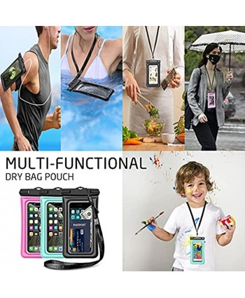 Weuiean Floating Waterproof Phone Case Waterproof Phone Bag with Armband Jack Adjustable Lanyard Phone Dry Bag for iPhone 12 11 SE XS XR 8 7 6Plus Samsung S21 20 10 10+ up to 6.5 inch Mint Green