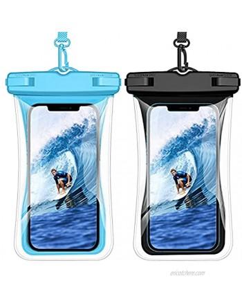 Weuiean Waterproof Phone Case Floating Waterproof Phone Bag Lanyard Phone Dry Bag for iPhone 12 11 SE XS XR 8 7Plus Samsung S21 20 10 10+ Note LG Pixel up to 6.9 inch 2Pack Black + Blue
