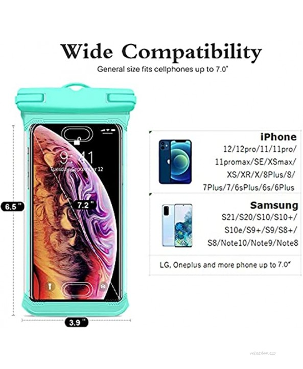 Weuiean Waterproof Phone Case with Hand Strap Waterproof Phone Bag Lanyard Phone Dry Bag for iPhone 12 11 SE XS XR 8 7 6Plus Samsung S21 20 10 10+ Note up to 7.0 inch 2Pack Black + Mint Green