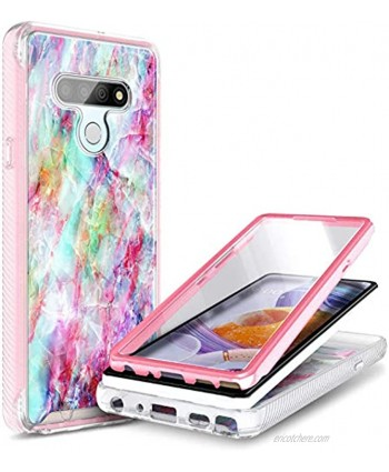 E-Began Case Compatible for LG K51 LG Reflect L555DL with [Built-in Screen Protector] Full-Body Shockproof Protective Rugged Matte Bumper Cover Impact Resist Durable Case -Marble Design Fantasy