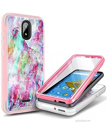 E-Began Case for BLU Wiko Ride W-U300 Vision 2 U304AC AT&T Radiant Core U304A Cricket Icon with [Built-in Screen Protector] Full-Body Shockproof Protective Case Cover -Marble Design Fantasy