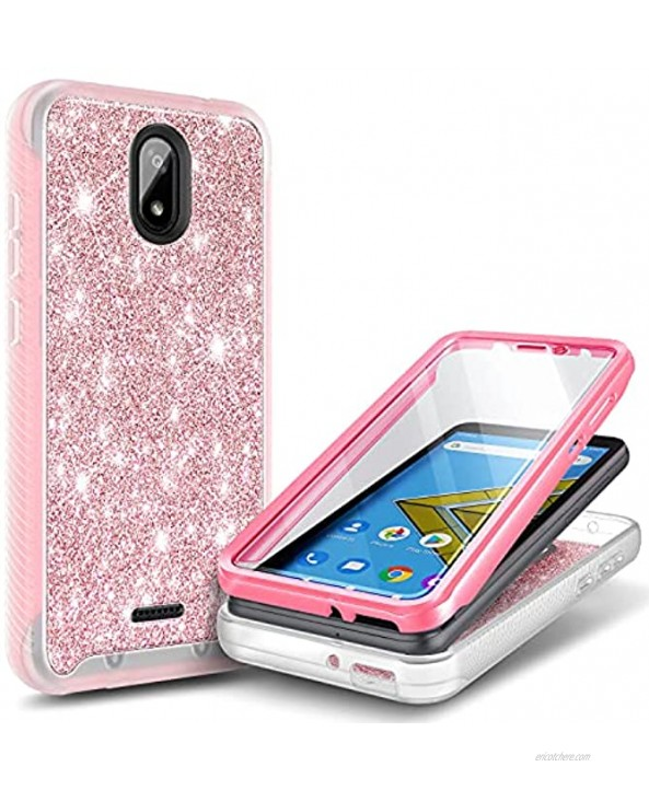 E-Began Case for BLU Wiko Ride W-U300 Vision 2 U304AC AT&T Radiant Core U304A Cricket Icon with [Built-in Screen Protector] Full-Body Shockproof Protective Bumper Case Cover -Glitter Rose Gold