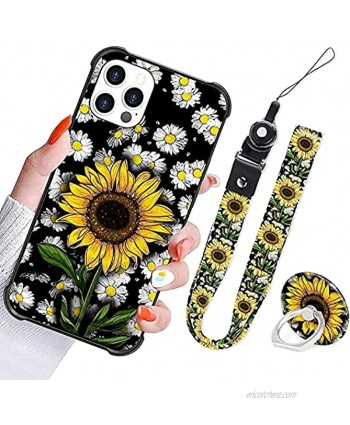 iPhone 12 Pro Max Case Sunflower Daisy Cute Design Women Girls with Strap Lanyard Finger Grip Ring Holder Flower Floral Protective Shockproof Back Bumper Cover Case for iPhone 12 Pro Max 6.7 Inch