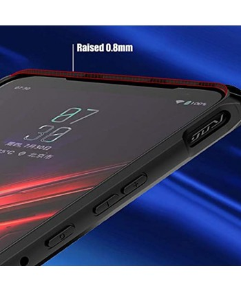 MME ASUS ROG Phone 2 Case Armor Shockproof Case TPU Frame with Built in Dust Cover Clear PC Back Air Trigger Compatible Case with TG Screen Protector