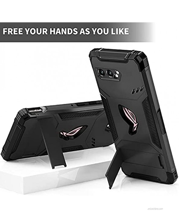 MME Case for ASUS ROG Phone 2 Case Air Trigger Compatible Military Grade Drop Protection with Built in Kickstand Camera Protectors and Dust Plugs with 9D Tempered Glass Black