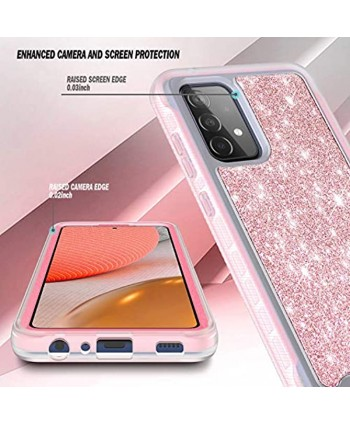 NZND Case for Samsung Galaxy A52 4G 5G with [Built-in Screen Protector] Full-Body Protective Shockproof Rugged Bumper Cover Impact Resist Durable Phone Case Glitter Rose Gold