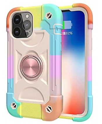 Omio for iPhone 12 Pro Max Ring Case Double Ring Series for iPhone 12 Pro Max Case Women Men Heavy Duty Rugged Rainbow Colorful Case with 360° Rotatable Ring Stand for iPhone 12 Pro Max Rose Gold