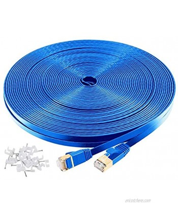 Cat7 Shielded Ethernet Cable 100ft Highest Speed Cable 10Gbps 600MHz Computer Networking Cable Flat LAN Internet Wire Cable with Snagless RJ45 Connectors for Gaming Ethernet Switch Modem,Router