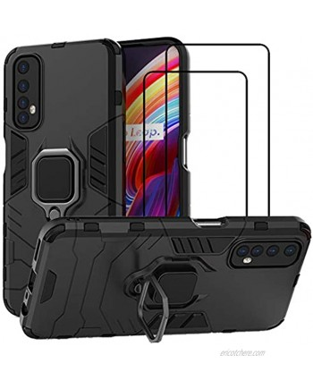 QCMM for Realme 7 Kickstand Case with Tempered Glass Screen Protector [2 Pieces] Hybrid Heavy Duty Armor Dual Layer Anti-Scratch Case Cover Black