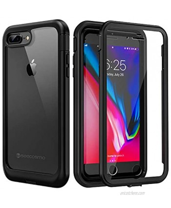Seacosmo Sim Full iPhone 7 Plus Case iPhone 8 Plus Case Shockproof Dustproof Rainproof Protective Case Cover with Built-in Screen Protector Compatible with iPhone 7 Plus iPhone 8 Plus Black