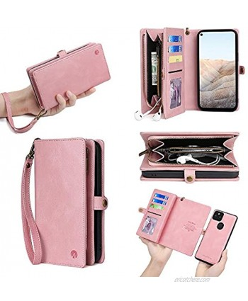 Compatible with LG Stylo 7 4G Wallet Case,Flip Cover with Soft PU Leather Card Slots Detachable Magnetic Buttons Wrist Strap 360 Protective Purse Business Cover for LG Stylo 7 4G Pink