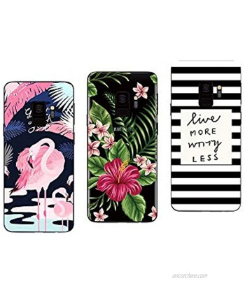 Novago Compatible with Samsung Galaxy S9 Pack of 3 Transparent and Solid Soft Gel Cases Print Multi-Coloured 7