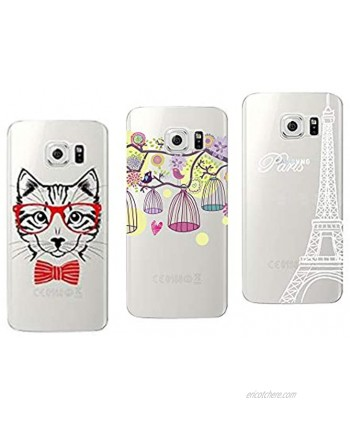 Novago Galaxy S6 Edge Pack of 3 Solid Soft Gel Cases with Fantasy Print Compatible with Samsung Galaxy S6 Edge Multi-Coloured 24