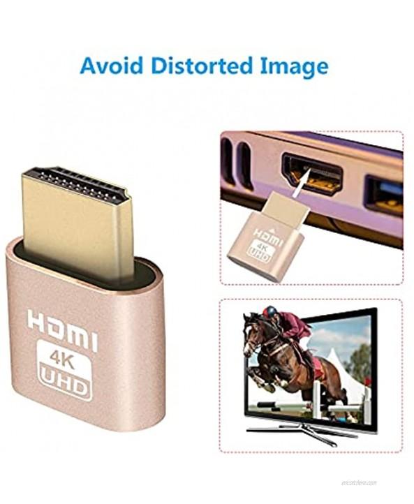 4K HDMI Dummy Plug Headless Ghost Display Emulator,[3840x2160@60Hz New Generation],High Resolution Virtual Monitor Display Adapter Headless for Mining Compatible with Windows Mac OSX-6 Packs