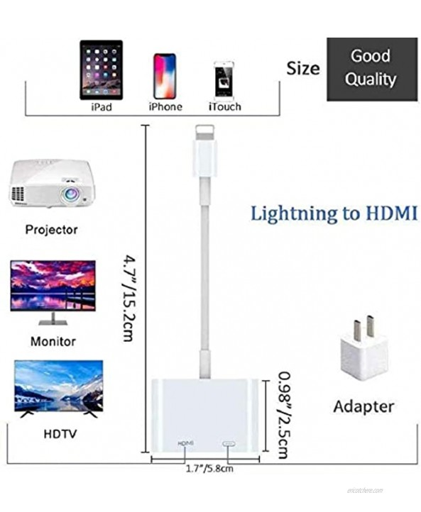 [Apple MFi Certified] Lightning to HDMI Lightning to 1080P Digital AV Adapter 4K Video & Audio HDMI Sync Screen Converter with Charging Port for iPhone 11 XS XR X 8 7 iPad on HDTV Monitor Projector