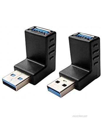 Posdou USB 3.0 Male to Female 90 Degree Right Angle Extension Adapter USB Upward and Downward Connector