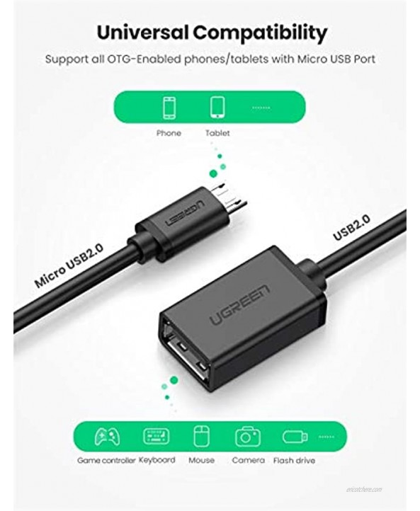 UGREEN Micro USB 2.0 OTG Cable On The Go Adapter Male Micro USB to Female USB for Samsung S7 S6 Edge S4 S3 LG G4 DJI Spark Mavic Remote Controller Android Windows Smartphone Tablets 4 Inch Black