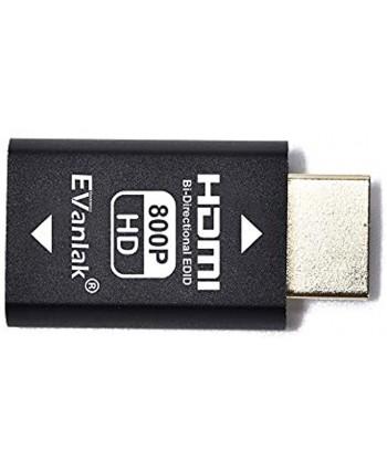 EVanlak Hdmi Edid Emulator Passthrough Dongle 3rd Generrtion Premium AluminumEliminated Emulator Adapter Edid Emulator Work With Mac Thunderbolt to HDMI Switches Extender AV Receiver Video Splitt