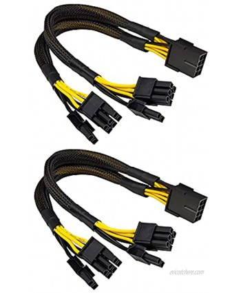 JZYMOD 2-Pack PCIE 8 Pin Female to Dual PCIE 8 Pin 6+2 Male Power Supply Extension Cable11.4inch 29cm