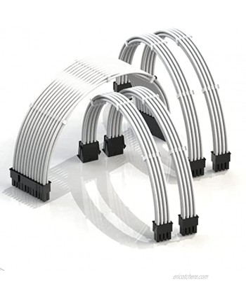 LINKUP 30cm PSU Cable Extension Sleeved Custom Mod GPU PC Braided w Comb Kit┃1 x 24 P 20+4┃2 x 8 P 4+4 CPU┃2 x 8 P 6+2 GPU Set┃300mm White