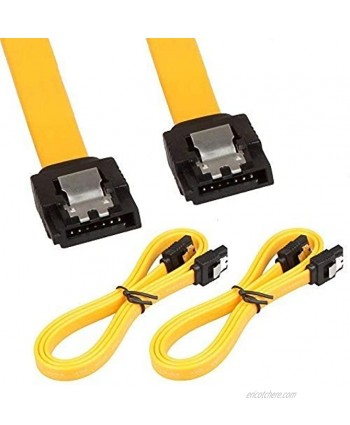 LINESO 2Pack 32in Long SATA Cable 6gb Straight with Locking LatchYellow