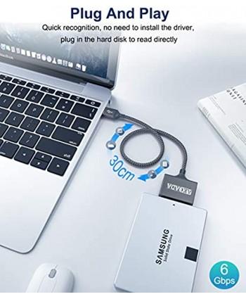 SATA to USB 3.0 Adapter AkoaDa USB to SATA SATA to USB SATA Cable Durable Nylon Braid USB 3.0 to SATA III Hard Drive Adapter Portable Cable Support for 2.5 inch HDD and SSD Data Transfer(Grey)