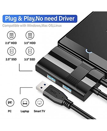 SATA to USB 3.0 Adapter,ABLEWE Hard Drive Adapter Converter with 3 USB 3.0 Ports for Universal 3.5 2.5 Inch SSD HDD SATA III Hard Drive Disk,Support UASP SATA III,Included Power Adapter